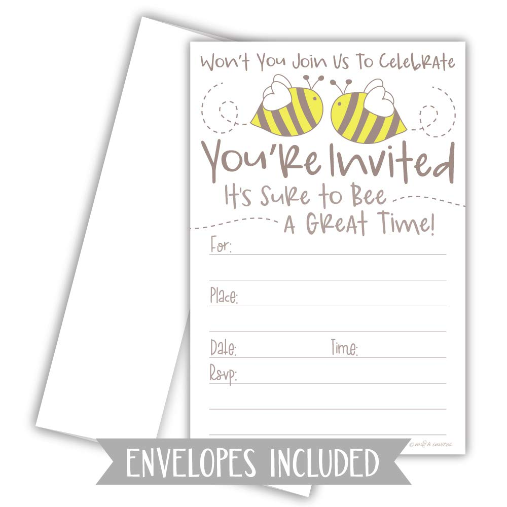 with Envelopes Cute Bumble Bee Invitations Baby Shower or Birthday Party 20 Count