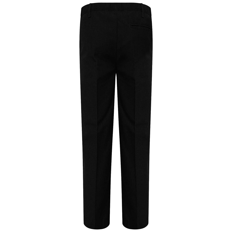 Boys School Trousers Grey Charcoal Grey Straight Leg Adjustable Waist Black