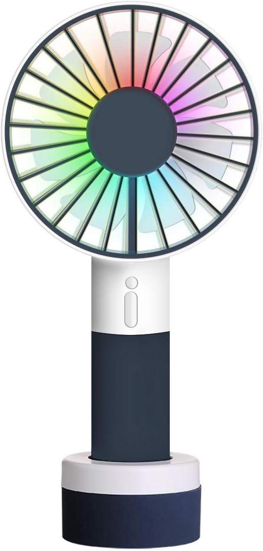 XZANTE Ventilador De Mano con Luz De Color, Deportes, Portátil, Recargable, Portátil, Ventilador De Mesa, Ventilador De Mesa, con Pie, Base, 3 Velocidades, para Acampar Al Aire Libre
