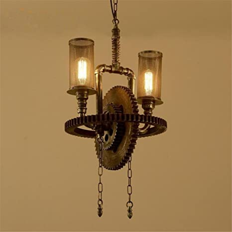 Wooden Gear Chandelier Pendant Retro Silver Rust Color ...