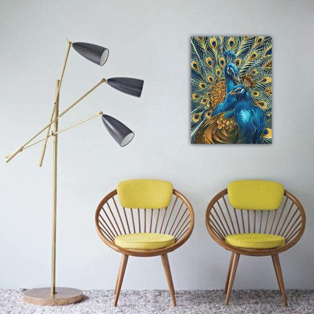 JAGETRADE Peacocks Digital Oil Painting By Numbers Canvas Wall Picture DIY Hand Painted