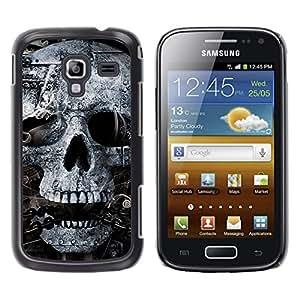 Qstar Arte & diseño plástico duro Fundas Cover Cubre Hard Case Cover para Samsung Galaxy Ace 2 I8160 / Ace2 II XS7560M ( Skull Mummy Egypt Pharaoh Black White)