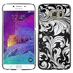 TECHCASE**Cubierta de la caja de protección la piel dura para el ** Samsung Galaxy S6 SM-G920 ** Wallpaper Grey Plant Leaves Design Interior