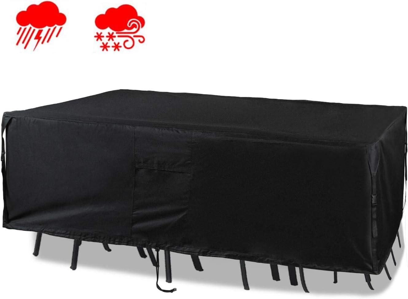 "Chutsang Patio Furniture Set Cover Veranda Rectangular Lawn Table Cover, 600D PVC Durable Square Heavy Duty and Waterproof - 128"" L x 82"" W x 24"" H"