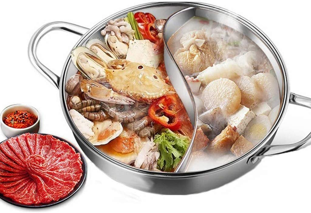 FCSFSF Lightweight Chinese Aluminum Hot Pot Induction Cooktop Gas Stove Safe Party Use,Yuanyang Hot Pot with Divider,Stainless Steel The Shabu Shabu Hot Pot with Lid Silver Diameter34cm(13inch)