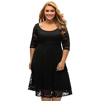 0562a2ae3d1 Women s Plus Size Dress Sexy Lace Evening Dress 3 4 Sleeve Floral Lace  Swing Dress
