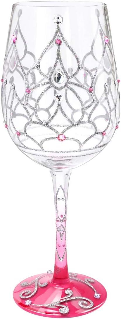 NymphFable Copa de Vino Pintada a Mano Corona de la Princesa Copa de Vino Tinto 15 oz para Cumpleaños, Bodas, Fiestas de Compromiso