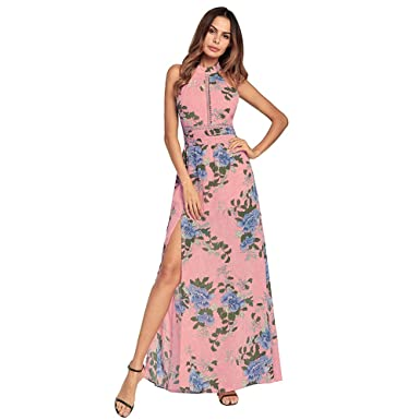 9feb8b28a1f38 Haogo Womens Sexy Floral Print Sleeveless Halter Backless Split Long Maxi  Dress Pink Small