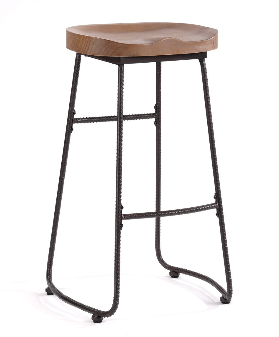 O&K Furniture 30-Inch Counter Height Stool Chairs, Industrial Solid Wood and Metal Bar stools, Walnut (1- PCS)