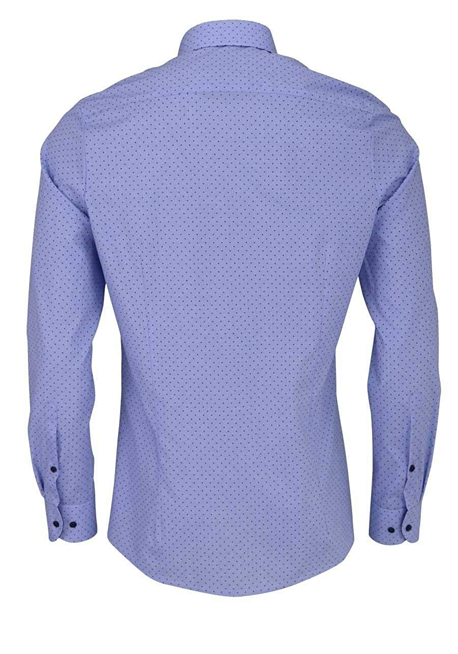 Olymp Level Five Body fit Hemd Langarm New Kent Kragen Muster hellblau