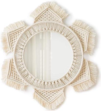 Amazon.com: Mkono Hanging Wall Mirror with Macrame Fringe Round ...