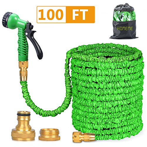 Homeme 100FT Expandable Flexible Garden Hose Solid Brass Hose Fittings &...