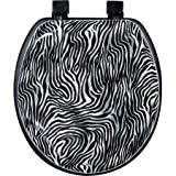 cushioned toilet seat with chrome hinges Zebra Soft Toilet Round Seat