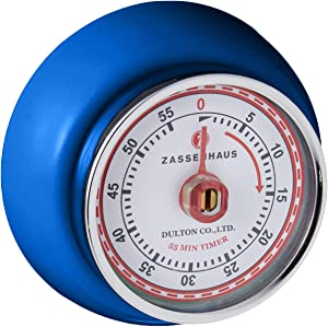 Zassenhaus M072273 Magnetic Retro 60 Minute Kitchen Timer, 2.75-Inch, Royal Blue