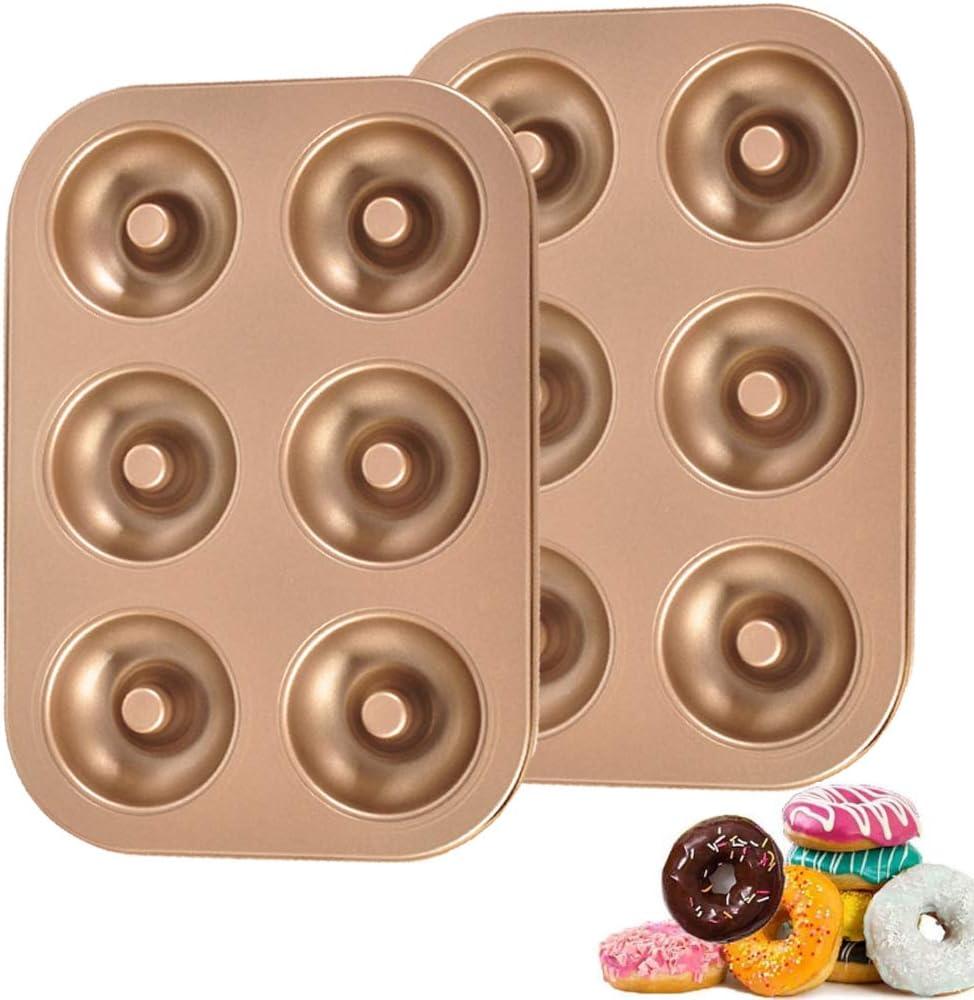 ZSWQ Moule /à Donuts avec 6 Cavit/és Couche Anti-Adh/érente Moule /à P/âtisserie Muffin Fait /à la Main 26,5 x 18,5 x 2,3 cm Or Champagne Plateau /à Cuisson de Dount en Acier au Carbon