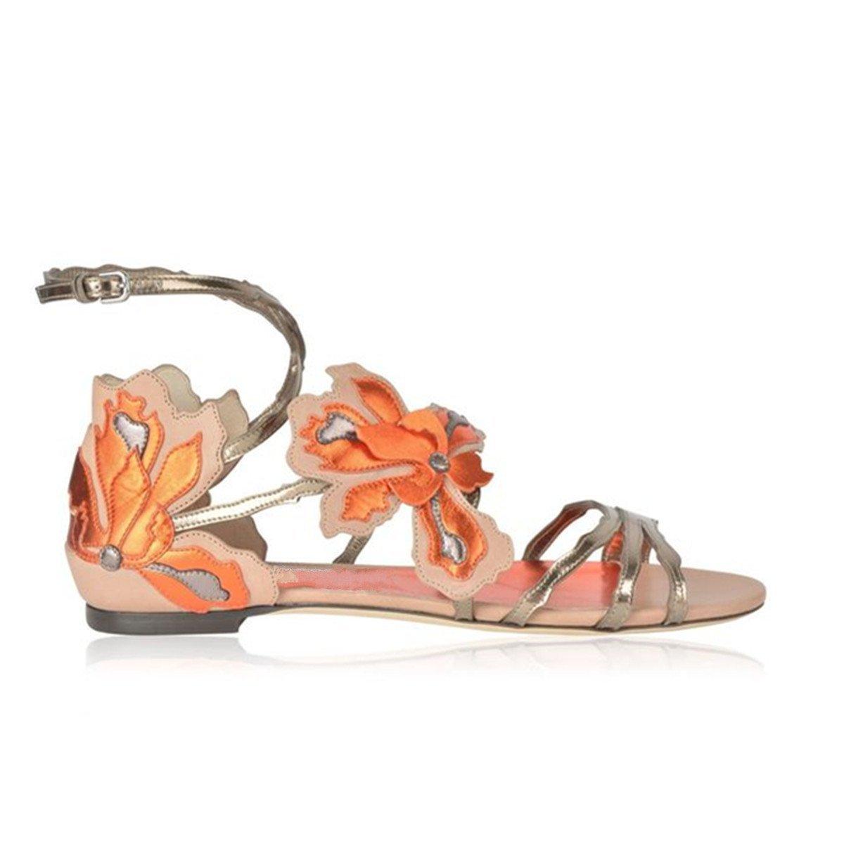 Women's Cross Ankle Strap Floral 3 Color Open-toe Flat Sandals B072SWND6L 10 B(M) US|Pink