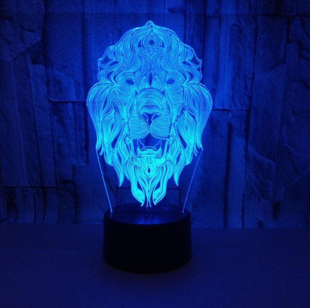 Luz Noche Infantil 3D Luces Niños Lampara, Rey Leon, La Lámpara De Mesa Usb Con Control Remoto Para Ilusión De Luz Nocturna Led Es El Mejor Regalo Para Los Niños De Navidad