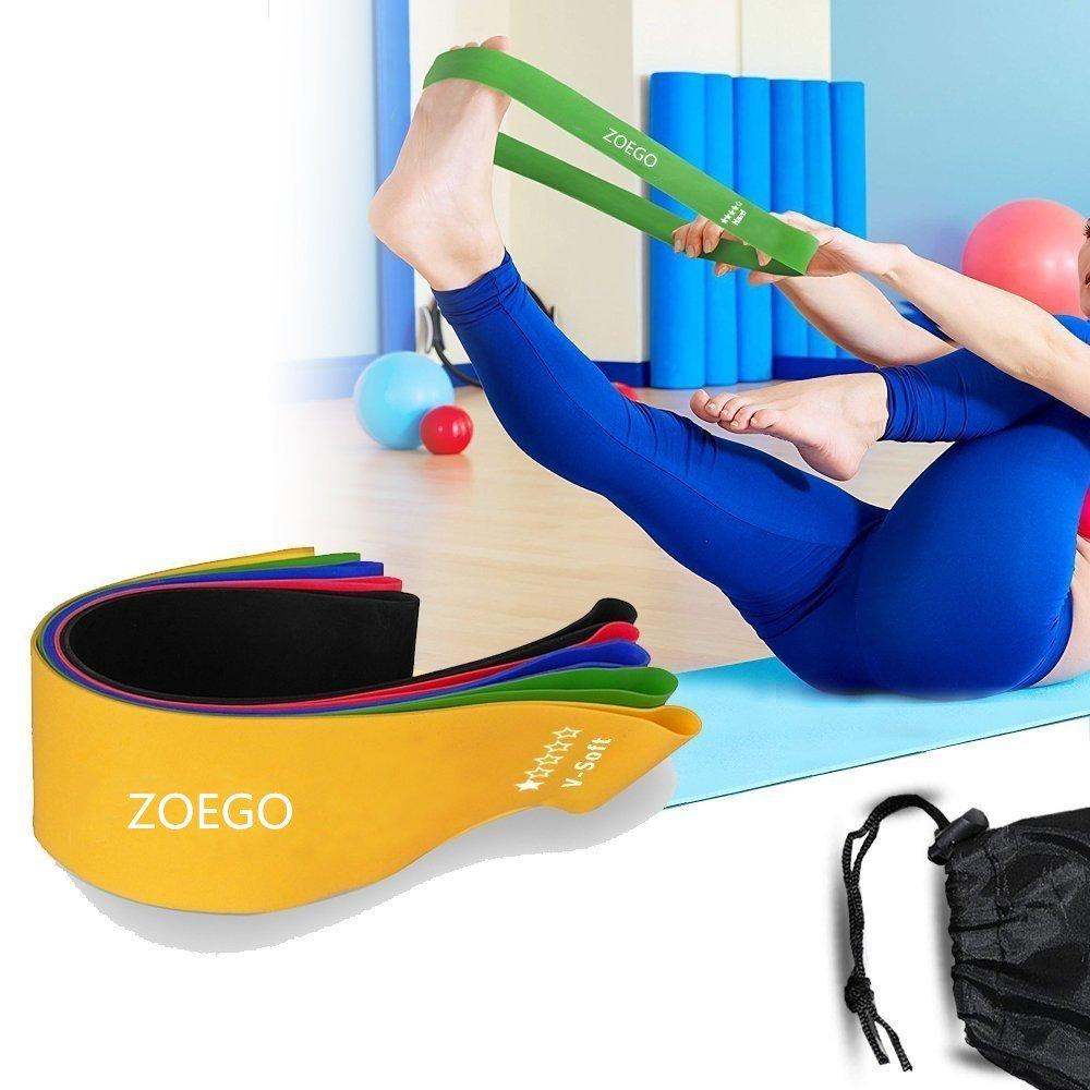 Mejora la Movilidad y la Fuerza del N/úcleo Bandas de Banda Resistentes de la Bah/ía Solar Adecuado para Muj Juego de 4 Resistencia Variante Banda de Ejercicio Premium Yoga Pilates o para Rehabilitaci/ón de Lesiones y Fisioterapia