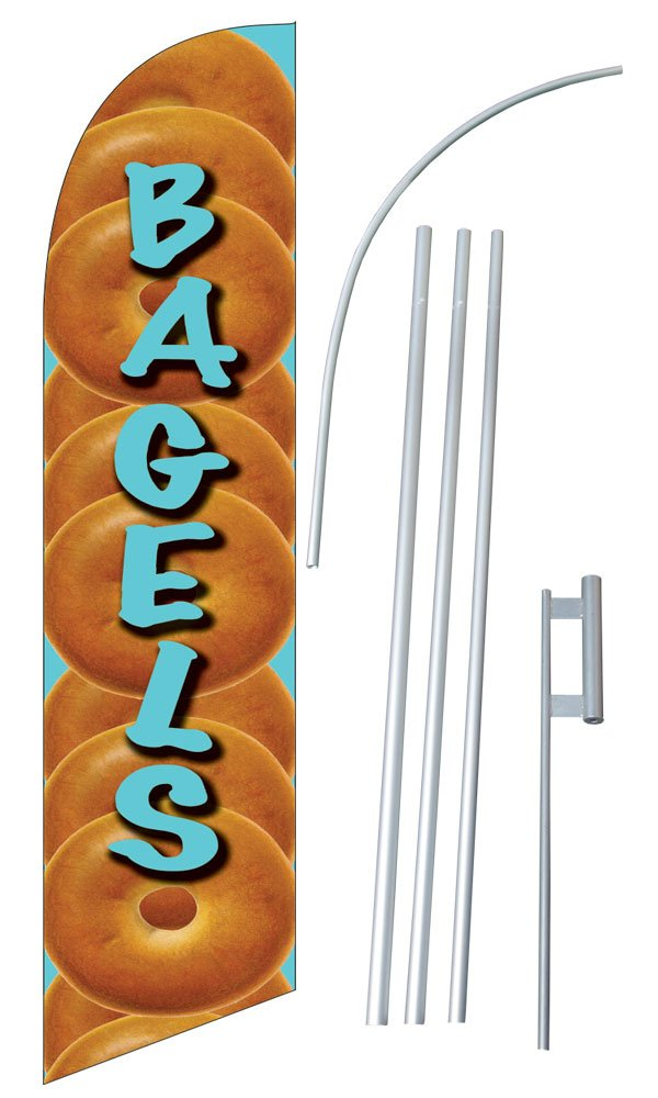 """Bagels"" 12-foot SUPER Swooper Feather Flag With Heavy-Duty 15-foot Pole and Ground Spike"