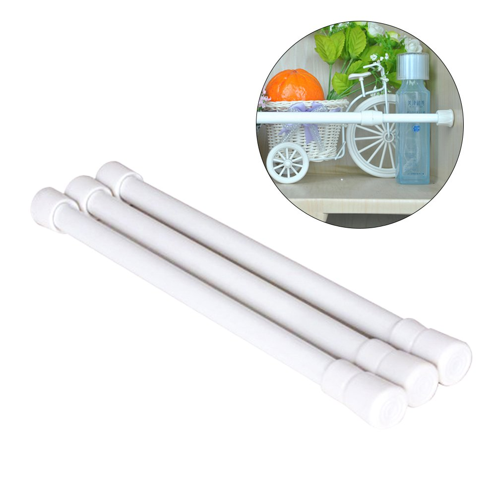 BESTOMZ Tension Rods, Pack of 3 Spring Tension Rods Shower Adjustable Closet Rod, 11.8-20 Inches (White)