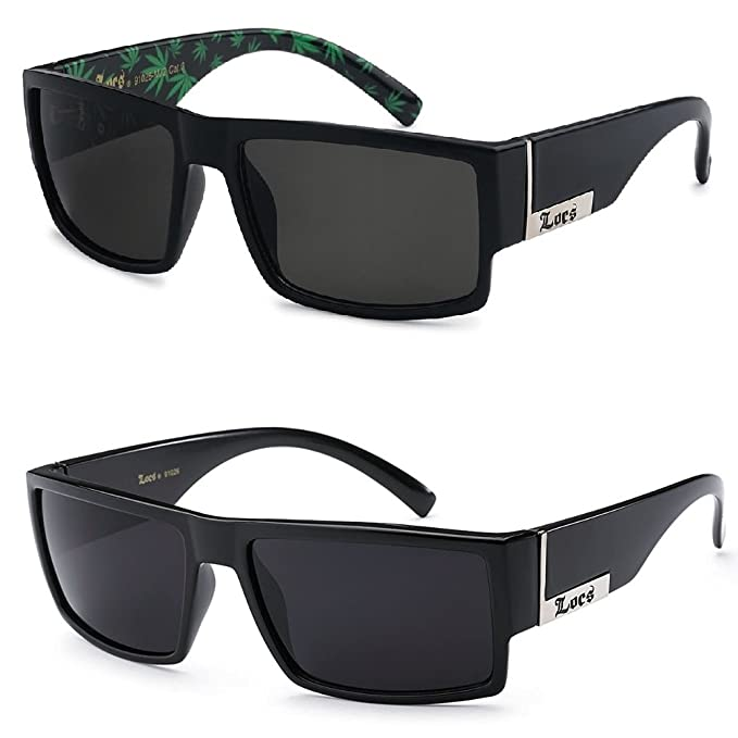 dc958a2a647f 2 Pack - Locs Sunglasses Black Gangster Sunglasses (1 Shinny 1 BK Matte Pot  Green