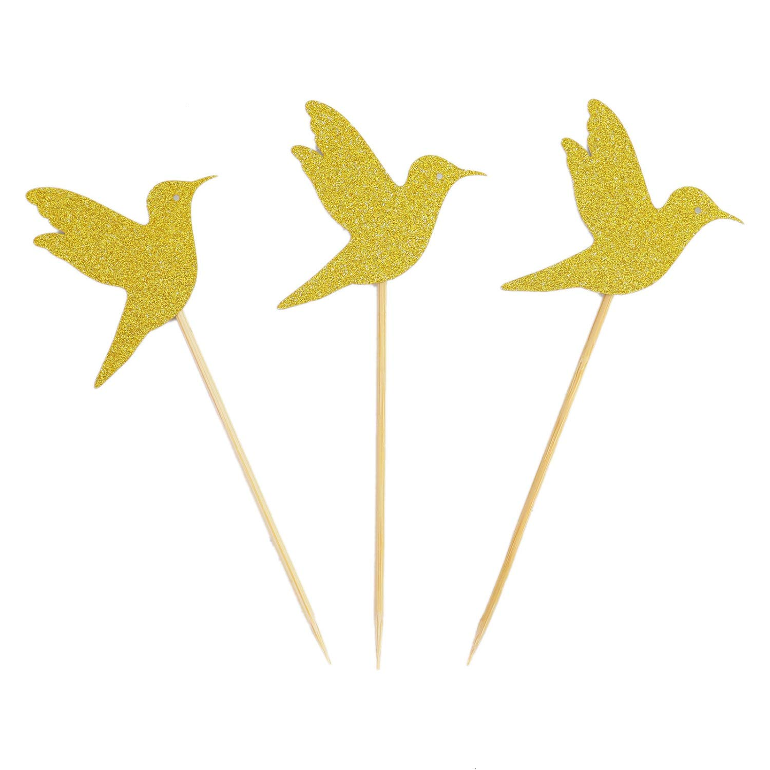 Monrocco 20 Pack Gold Glitter Hummingbird Cupcake Topper Bird Cupcake Picks for Birthday Weddings Decoration