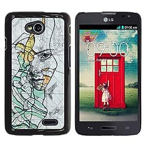 iKiki Tech / Estuche rígido - Rustic Deep Sad Meaning Teal - LG Optimus L70 / LS620 / D325 / MS323