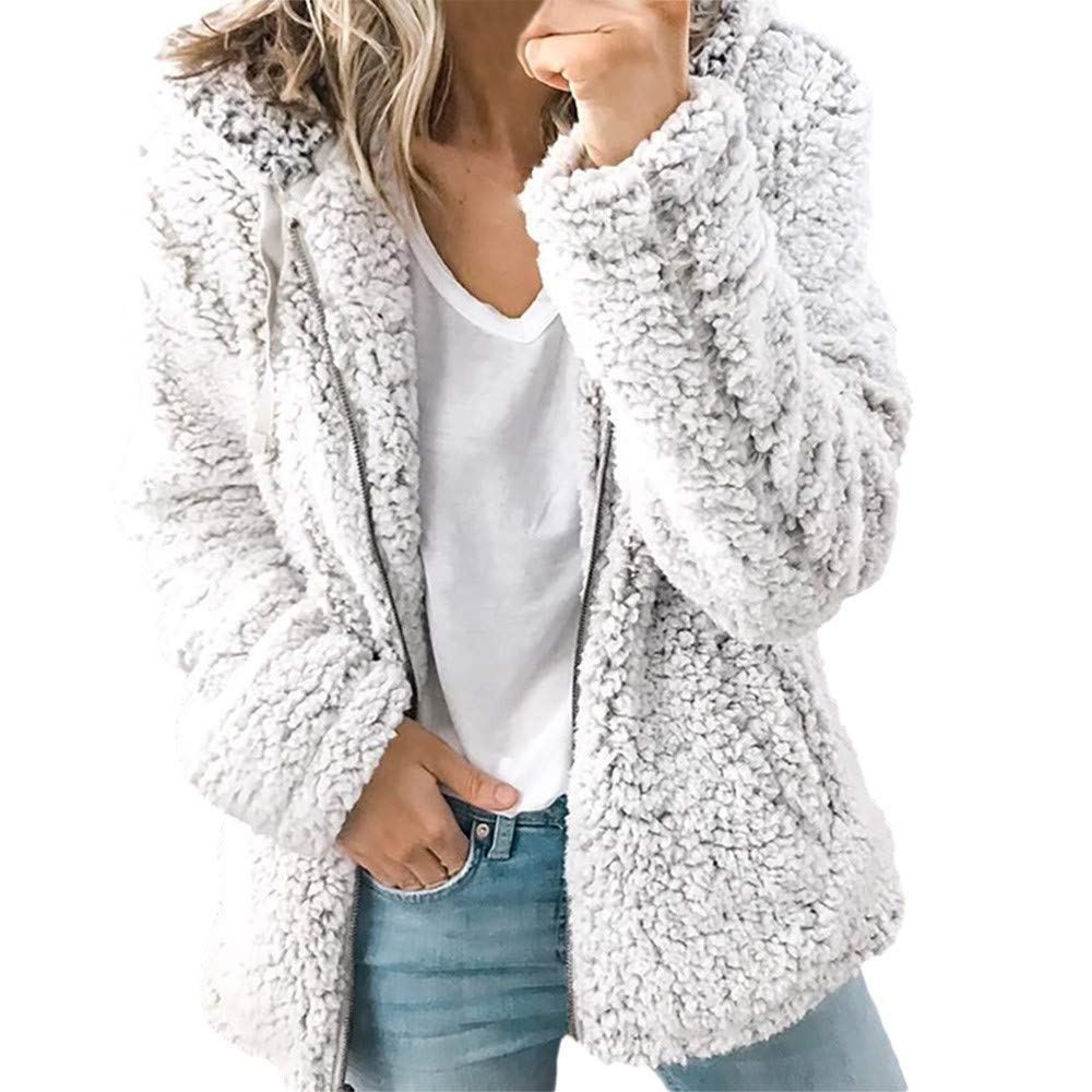 Ulanda Women's Long Sleeve Thick Hooded Open Front Cardigan Autumn Winter Warm Fuzzy Fleece Jacket Coat