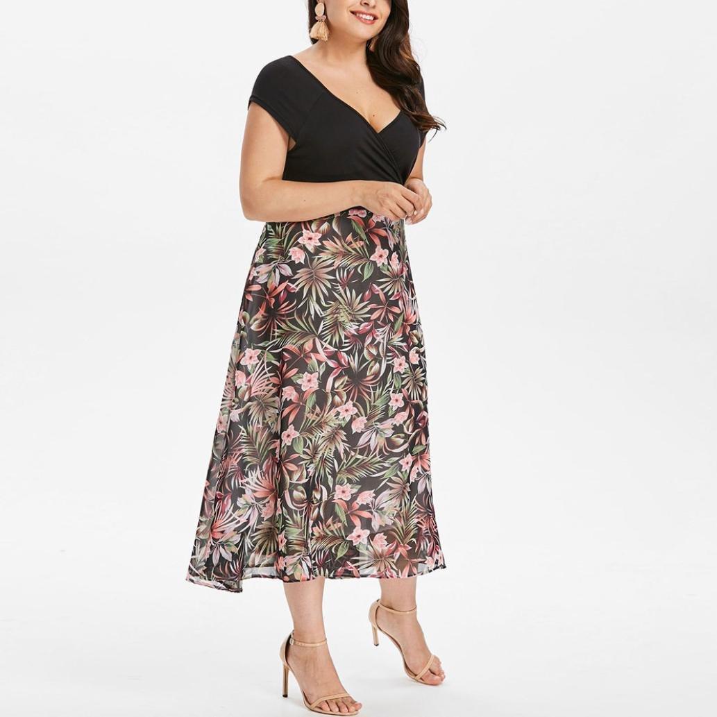 Women V Neck Plus Size Chiffon Midi Dresses Summer Short Sleeve Prom Dress at Amazon Womens Clothing store: