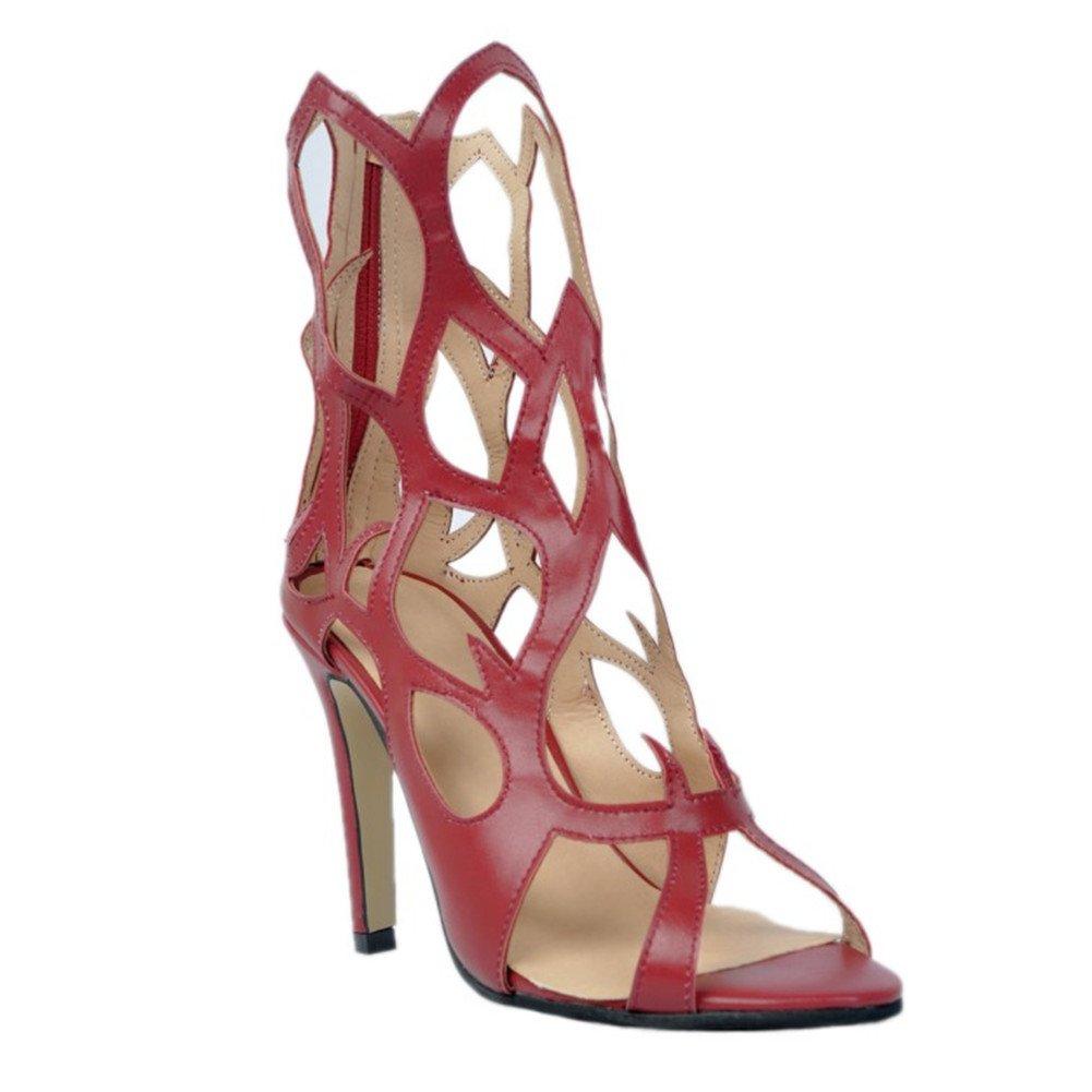 Darkrouge Kolnoo Femmes Fashion Fashion Fashion Handmade 10cm Open Toe Zipper Sexy sandales d'été à talons hauts Chaussures marron f00
