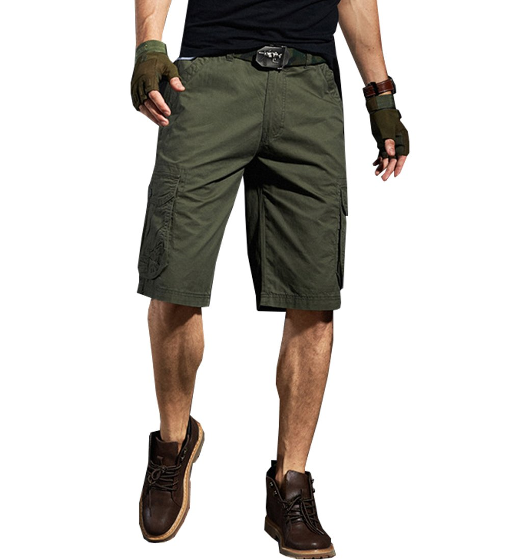 Yollmart Men's Survivor Outdoor Military Cotton Cargo Shorts Pants-green-36