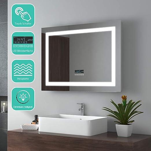 RUND Badspiegel mit LED Beleuchtung Wandspiegel LAUTSPRECHER TOUCH UHR SCHALTER