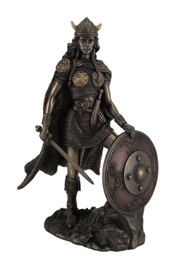 Resin Statues Viking Shieldmaiden Bronze Finished Statue Norse Mythology 6.5 X 10.5 X 4 Inches Bronze