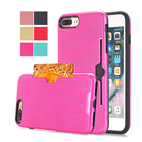 Protective iPhone 7 Plus Case Girl, Dual Layer Soft TPU Hard PC Skin Bumper Design with Card Holder Full Body Anti-Scratch Shockproof iPhone 7 Plus Pink Case for Apple iPhone 7 Plus Case 5.5 Inch (Tpu Skin)