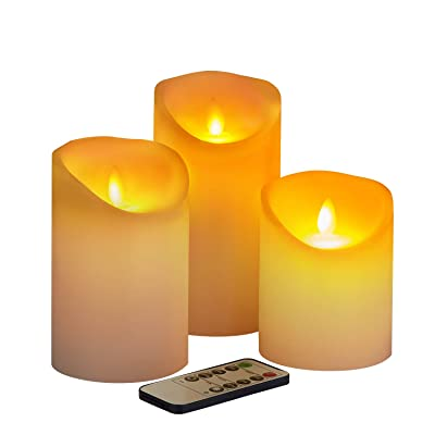 "Flameless Candles Battery Operated Candles,4"" 5"" 6"" Set of 3 Real Ivory Wax, Include Realistic Dancing LED Flames and 10-Key Remote Control with 2/4/6/8-hours Timer Function, 300+ Hours. (3 Pack): Home Improvement"