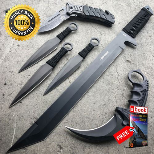 6 PC Black Tactical Hunting Sword MACHETE Karambit Knife Pocket SET NEW For Hunting Tactical Camping Cosplay + eBOOK by MOON KNIVES ()