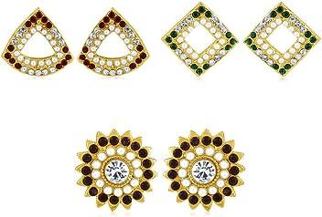 Sukkhi Copper Stud Earrings for Women (Golden) (CB70125GLDPD550)