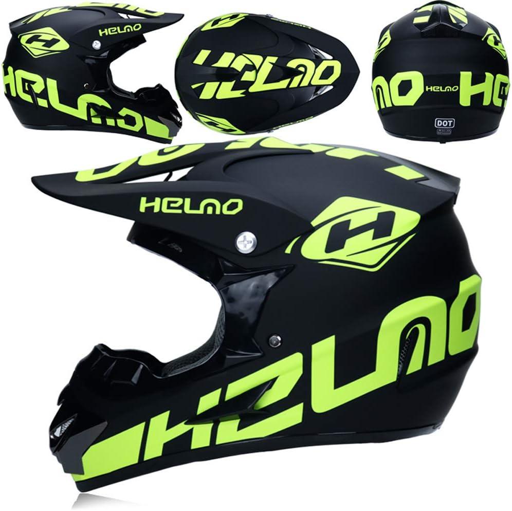 Fullface MTB Helm Kinder Off Road Cross Helm Mopedhelm Motorradhelm f/ür Damen Herren 4 St/ück XL - Schwarz Gr/ün Motorrad Crosshelm mit Brille Handschuhe Maske MRDEAR Motocross Helm