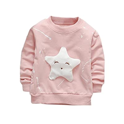 Esharing Infant Baby Girl Boy Cute Star Printed Cotton Long Sleeve T-shirt Tops Clothes