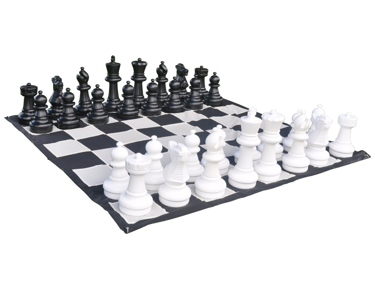 Giant Outdoor Chess Set With Mat - 25'' Kings