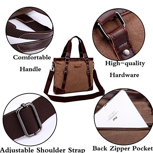 Coffee Shoulder Bag Top College Handbag Messenger Crossbody Multifunction School Inch Mens Satchels 14 Business Tote Canvas Briefcase Handle Laptop Rullar BqFH6