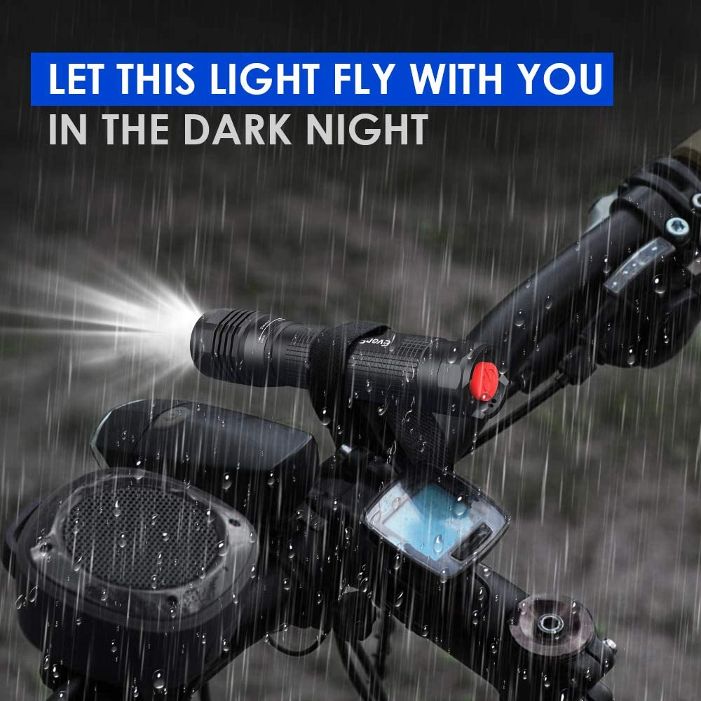 4 Modos Linternas Potentes para Caza Linterna Linternas LED Alta Potencia 2000 Lumen Linterna Potente LED de Enfoque Ajustable Resistente al Agua Linterna Tactica Militar para Ciclismo C/ámping