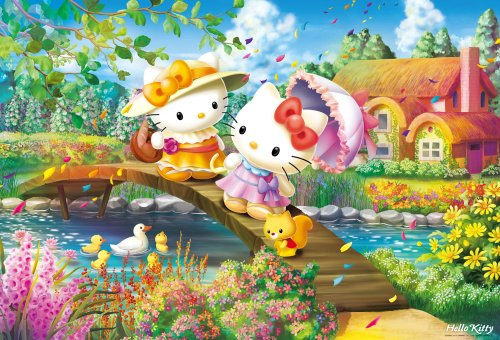 1000 piece jigsaw puzzle Hello Kitty flowers bloom cottage (49x72cm)
