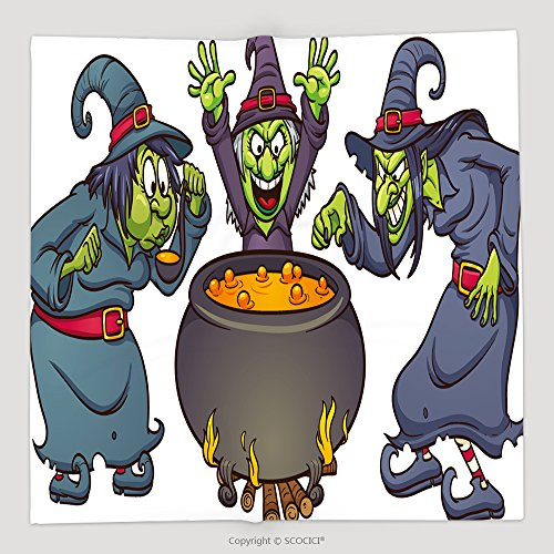 Custom Cartoon Halloween Witches With Cauldron Vector Illustration With Simple Gradients Each In A 107262791 Soft Fleece Throw (Roseanne Halloween Witch)