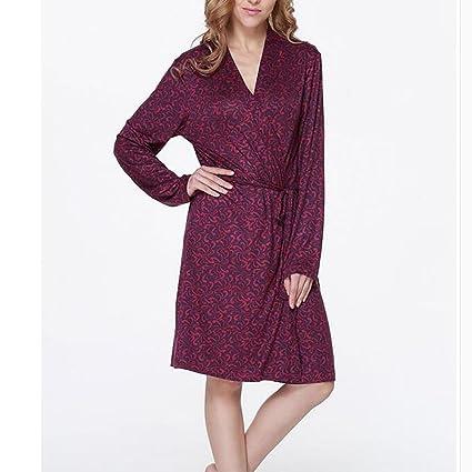 HXQ Leopardo de batas de baño de las mujeres s camisones Casual Inicio pijamas baño