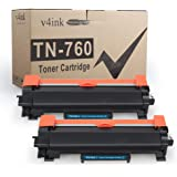 V4INK 2PK Compatible Toner Cartridge for Brother TN760 TN-760 TN730 Toner High Ink for Brother HL-L2350DW HL-L2390DW HL-L2395DW HL-L2370DW DCP-L2550DW MFC L2710DW L2730DW MFC-L2750DW Printer