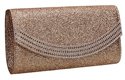 Clutch Dakota Bag Glitter Gold Flapover Womens Diamante SWANKYSWANS Wedding Y1dfqdy