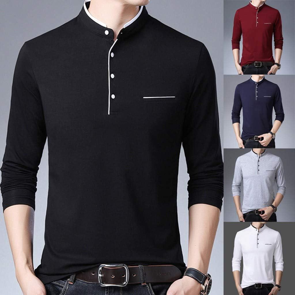 Camisa Polo De Manga Larga para Hombre Tops Basic Slim Fit Moda De Oto/ño Color S/ólido Elegante Camiseta B/ásica Camisa Polo Tops