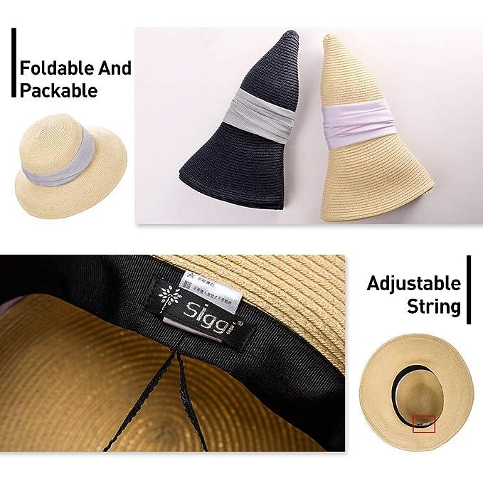 Amazon.com  Jeff   Aimy Ladies Straw Sun Hat Wide Brim UV Protection  Foldable Panama Fedora Cloche Summer Beach Accessories Fashion Sunhat  Beige  Clothing 3f648feb1ff8