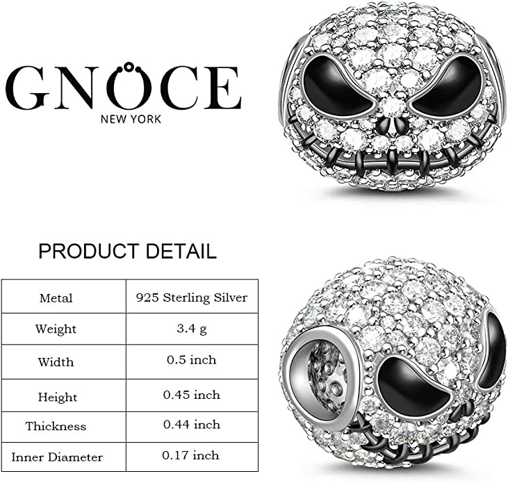 Halloween  Clear CZ Charm Bead 20 To 40 Day Delivery 925 Sterling Silver Skull